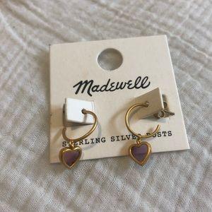 Madewell Dangly Heart Hoops Earrings